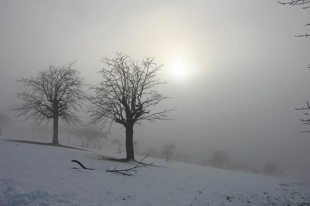 冬の空と雪景色