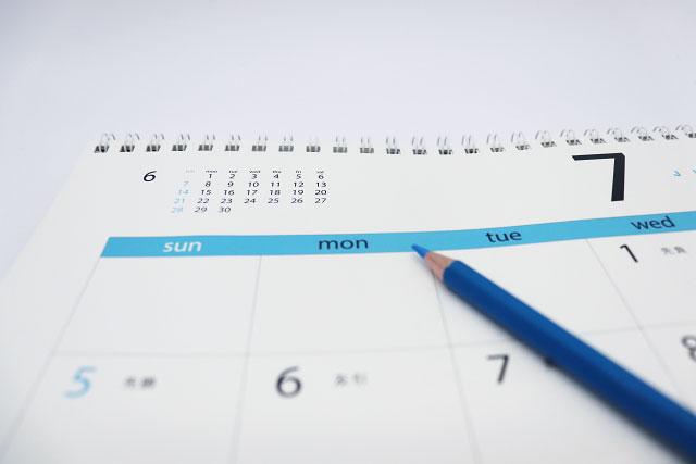 七月のカレンダー